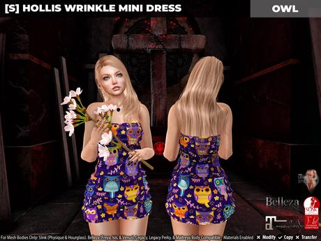 [S] Hollis Wrinkle Mini Dress Owl