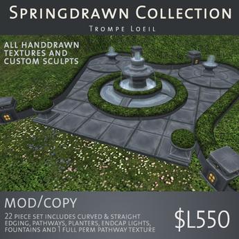 Trompe Loeil - Springdrawn Gray Stone Fountain, Edging, Paths & Planters Set