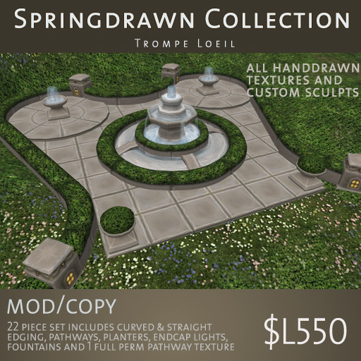 Trompe Loeil - Springdrawn Brown Stone Fountain, Edging, Paths & Planters Set