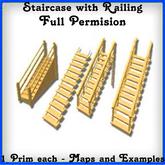 # 4 FULL PERMS Stairs railings 1Prim Map inside each stair