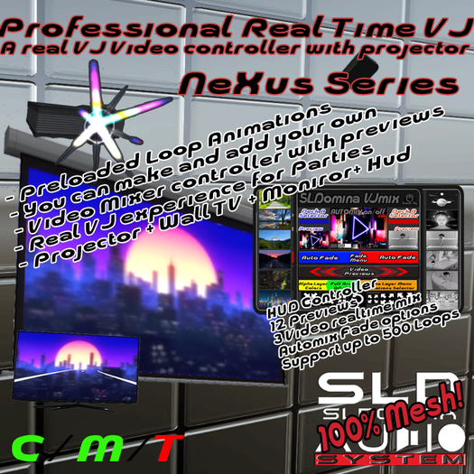 Nexus VJ Series, Pojector, Hud Controller - Real Live VJ System lot of loops loaded + add your loops and Mix the Videos