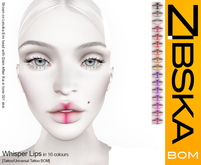 Zibska BOM Pack ~ Whisper Lips in 16 colors with tattoo and universal tattoo BOM layers