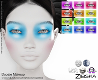 Zibska ~ Doozie Makeup in 12 colors with Lelutka, Genus, LAQ, Catwa and Omega appliers and tattoo layers