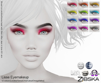Zibska ~ Lisse Eyemakeup in 12 colors with Lelutka, Genus, LAQ, Catwa and Omega appliers and tattoo layers