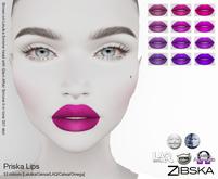 Zibska ~ Priska Lips in 12 colors with Lelutka, Genus, LAQ, Catwa and Omega appliers and tattoo layers