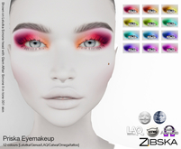 Zibska ~ Priska Eyemakeup in 12 colors with Lelutka, Genus, LAQ, Catwa and Omega appliers and tattoo layers