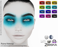 Zibska ~ Ruina Makeup in 12 colors with Lelutka, Genus, LAQ, Catwa and Omega appliers and tattoo layers