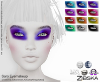 Zibska ~ Saro Eyemakeup in 12 colors with Lelutka, Genus, LAQ, Catwa and Omega appliers and tattoo layers