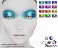 Zibska ~ Sassi Eyemakeup in 12 colors with Lelutka, Genus, LAQ, Catwa and Omega appliers and tattoo layers