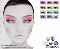 Zibska ~ Elodie Eyemakeup in 12 colors with Lelutka, Genus, LAQ, Catwa and Omega appliers and tattoo layers