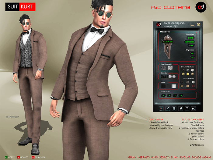 A&D Clothing - Suit -Kurt- Brown