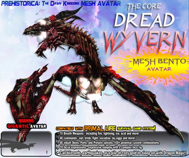 DREAD WYVERN AVATAR ~ Bento Undead Dragon Mesh Avatar ~ Prehistorica: The Dawn Kingdoms
