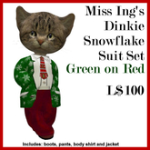 Miss Ing's Dinkie Snowflake Suit Green on Red