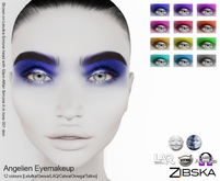 Zibska ~ Angelien Eyemakeup in 12 colors with Lelutka, Genus, LAQ, Catwa and Omega appliers and tattoo layers