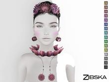 Zibska ~ Elaine Color Change Headpiece, earrings, collar and necklace