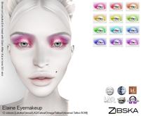 Zibska ~ Elaine Eyemakeup in 12 colors with Lelutka, Genus, LAQ, Catwa, Omega appliers, tattoo & universal tattoo BOM