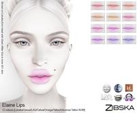 Zibska ~ Elaine Lips in 12 colors with Lelutka, Genus, LAQ, Catwa, Omega, tattoo & universal tattoo BOM
