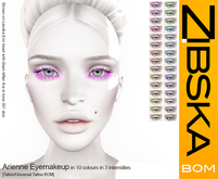 Zibska BOM Pack ~ Arienne Eyemakeup in 10 colors in 3 intensities
