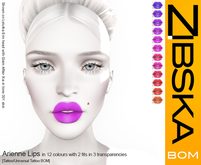 Zibska BOM Pack ~ Arienne Lips in 12 colors with 2 fits in 3 transparencies with tattoo & universal tattoo BOM layers