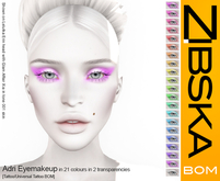 Zibska BOM Pack ~ Adri Eyemakeup in 21 colors in 2 transparencies with tattoo and universal tattoo BOM layers