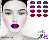 Zibska ~ Clementine Lips in 12 colors with Lelutka, Genus, LAQ, Catwa and Omega appliers and Universal Tattoo/BOM layer