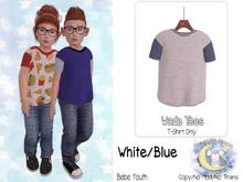 {SMK} Wade Tee | White/Blue | Youth
