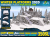Max detail Winter snowy PLATFORMS SET 2020: Walkable Cliff Platforms for placing house higher and level up terrain