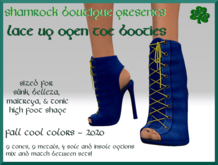 <SB>Open toe lace up booties -fall 2020 -cool (bagged)
