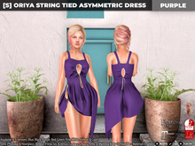 [S] Oriya String Tied Asymmetric Dress Purple