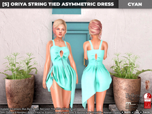 [S] Oriya String Tied Asymmetric Dress Cyan