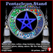 Sculpty Pentacle (point-up) on stand, with hang pose, size and appearance menu