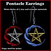 Knotted Moon Pentacle Earrings with Material Change Menu (Wiccan, Wicca, Pagan Ear Rings, Earings)
