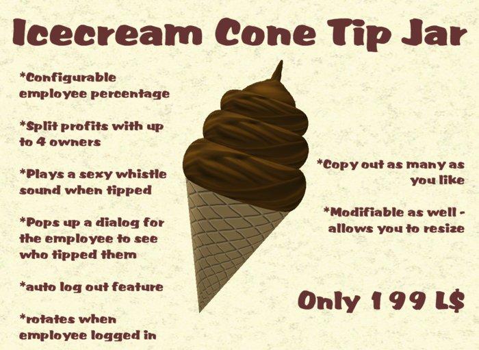 Second Life Marketplace Icecream Cone Tip Jar
