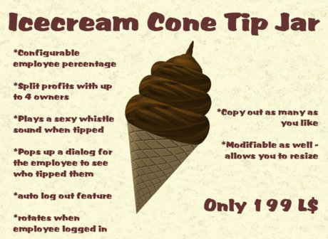Second Life Marketplace Icecream Cone Tip Jar