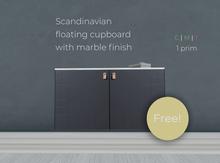 FREE Scandinavian floating cupboard furniture piece with marble finish -  L$0! (M/C) Swedish style freebie