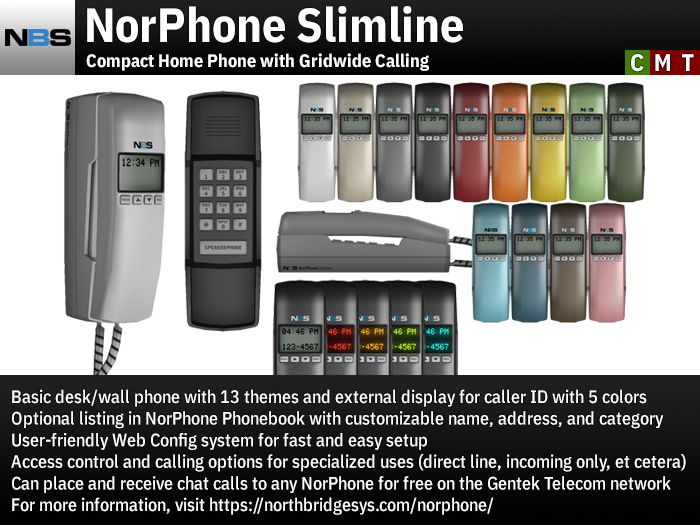 NBS NorPhone Slimline - Compact Home Phone with Gridwide Calling