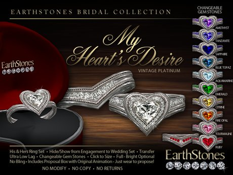 Second Life Marketplace Earthstones Wedding Rings My Heart S