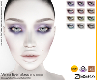 Zibska ~ Venna Eyemakeup in 12 colors with Omega appliers, tattoo and universal tattoo BOM layers