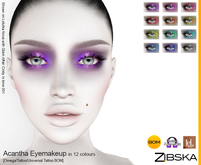 Zibska ~ Acantha Eyemakeup in 12 colors with Omega appliers, tattoo and universal tattoo BOM layers