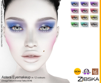 Zibska ~ Astera Eyemakeup in 12 colors with Omega appliers, tattoo and universal tattoo BOM layers