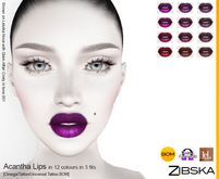 Zibska ~ Acantha Lips in 12 colors in 3 fits with Omega applier, tattoo and universal tattoo BOM layers