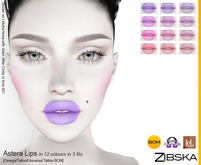 Zibska ~ Astera Lips in 12 colors in 3 fits with Omega applier, tattoo and universal tattoo BOM layers
