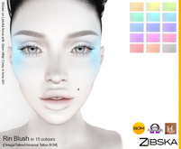 Zibska ~ Rin Blush in 15 colors with omega applier, tattoo and universal tattoo BOM layers