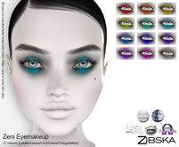 Zibska ~ Zeni Eyemakeup in 12 colors with Lelutka, Genus, LAQ, Cata, Omega appliers and tattoo BOM layers