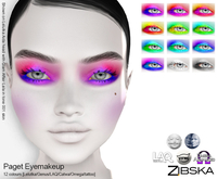 Zibska ~ Paget Eyemakeup in 12 colors with Lelutka, Genus, LAQ, Catwa and Omega appliers and tattoo layers