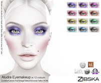 Zibska ~ Aludra Eyemakeup in 12 colors with Lelutka, Catwa, LAQ, Omega appliers and tattoo, universal tattoo BOM layers