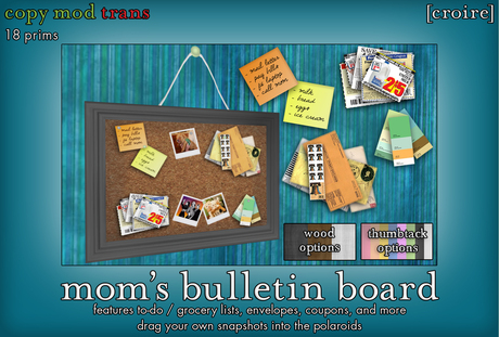 [croire] Mom's Bulletin Board (Built-in color options + Insert your own photos!) Home decor for your kitchen, teen room.
