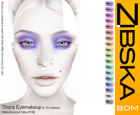 Zibska Bom Pack ~ Thizra Eyemakeup in 18 colors with tattoo and universal tattoo BOM layers