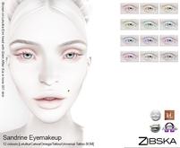 Zibska ~ Sandrine Eyemakeup in 12 colors with Lelutka, Catwa, Omega appliers, tattoo and universal tattoo BOM layers