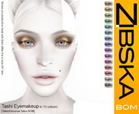 Zibska Bom Pack ~ Tashi Eyemakeup in 15 colors with tattoo and universal tattoo BOM layers